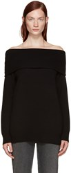 Alexander Wang Black Wool Off The Shoulder Sweater