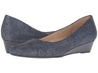 Trotters Lauren Navy Textured Leather Women's Wedge Shoes Multi