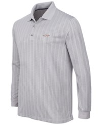 Greg Norman For Tasso Elba Men's Big And Tall Long Sleeve Striped Polo Only At Macy's Silver