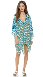 Red Carter Galactica Kimono Cover Up Electric Lime