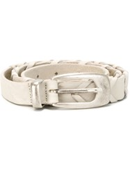 Eleventy Metal Tip Buckle Belt White