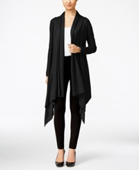 Cable And Gauge Multi Wrap Open Front Cardigan Black
