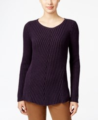 Styleandco. Style Co. Petite Ribbed Crew Neck Sweater Only At Macy's Dark Grape