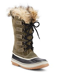 Sorel Joan Of Arctic Faux Fur Trimmed Suede And Leather Lace Up Boots Nori