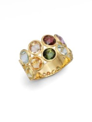 Marco Bicego Jaipur Semi Precious Multi Stone And 18K Yellow Gold Two Row Ring Gold Multi