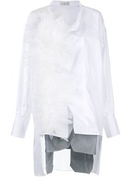 Faith Connexion Tulle Ruffle Shirt Dress White