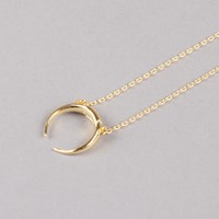 Maria Black Tusk Necklace In High Polished Gold