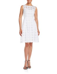 Ellen Tracy Square Mesh Accented Dress White