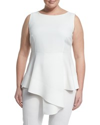 Marina Rinaldi Fioretto Belted Asymmetric Peplum Top W Attachable Sleeves Women's White