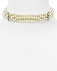 Kenneth Jay Lane Three Row Choker Necklace 12 White Pearl