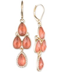 Anne Klein Gold Tone Pave Cobalt Blue Crystal Chandelier Earrings Coral
