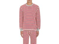 Sleepy Jones Women's Rugby Striped Cotton Thermal Shirt Red