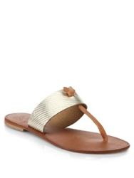 Joie Nice Metallic Leather Thong Sandals Platinum
