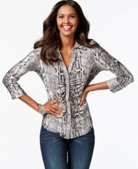 Inc International Concepts Snakeskin Print Ruched Button Front Blouse Only At Macy's