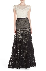 Women's Tracy Reese Sequin Applique Woven Fit And Flare Gown Black Cement