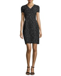 Oscar De La Renta Fitted Short Sleeve Tweed Dress Black Ivory Black Ivory