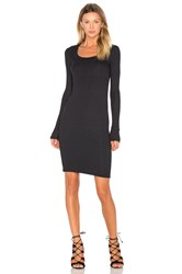 Atm Anthony Thomas Melillo Wide Neck Long Sleeve Dress Black