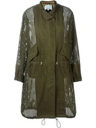 3.1 Phillip Lim Perforated Trench Coat Green