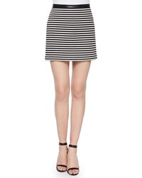 T By Alexander Wang Twisted Striped Mini Skirt Size 4 Black And White