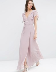 Asos Frill Wrap Maxi Dress Dusty Lilac Purple