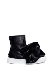 Joshua Sanders Shearling Bow Bomb Leather Sneaker Boots Black