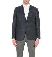 Gieves And Hawkes Check Print Wool Cashmere Blend Jacket Navy