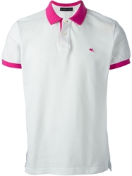 Etro Contrasting Collar And Cuffs Polo Shirt White