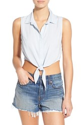 Women's Bp. Tie Front Sleeveless Crop Top Blue Drizzle