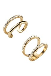 Sterling Forever Stackable Open Band Cz Midi Ring 2 Piece Set Metallic