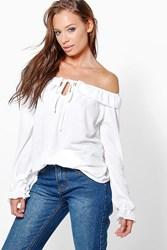 Boohoo Ruffle Off The Shoulder L S Top Cream