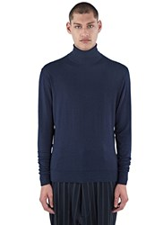 Aiezen Ribbed Roll Neck Sweater Navy