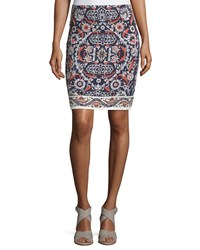 Max Studio Printed Pencil Skirt Navy Spiced Coral