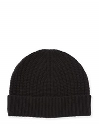 Neiman Marcus Ribbed Cuffed Beanie Hat Black