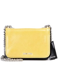 Miu Miu Leather Shoulder Bag Yellow