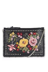 Topshop Floral Embroidered Cross Body Bag Black