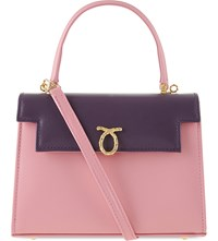 Launer Judi Leather Tote Lilac Flap Pink Base