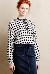 Maeve Caitlin Checkered Blouse Black And White