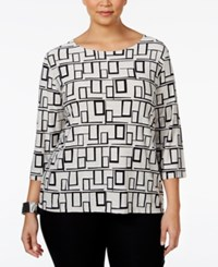 Jm Collection Plus Size Printed Jacquard Top Only At Macy's Mod Angles