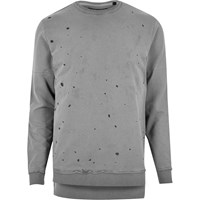 Only And Sons River Island Mens Grey Grey Spot Jumper
