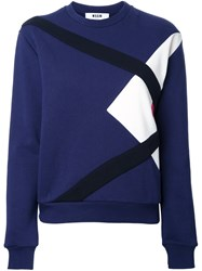 Msgm Crew Neck Sweatshirt Blue