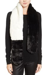 Badgley Mischka Women's Colorblock Faux Chinchilla Scarf Black White