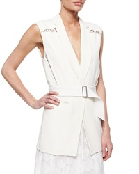 Rebecca Taylor Lace Inset Belted Suiting Vest