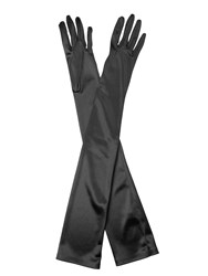 Cornelia James Hermione Duchess Satin Gloves Black