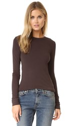 Enza Costa New Bold Brushed Jersey Crew Top Dark Brown