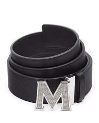 Mcm Men's Be Jeweled M Buckle Leather Belt Black Silver