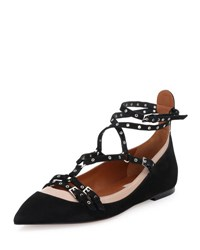 Valentino Love Latch Caged Ballerina Flat Nero Poudre