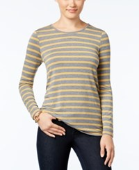 G.H. Bass And Co. Striped Long Sleeve Top Old Gold Combo