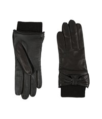 Ugg Smart Leather Gloves W Knit Bow Trim Black Extreme Cold Weather Gloves