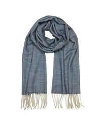 Mila Schon Herringbone Cashmere Wool And Silk Fringed Long Scarf Blue
