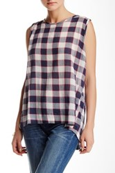 Sandra Ingrish Split Back Check Blouse Blue